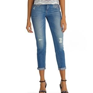 WHBM Embellished Girlfriend Jeans